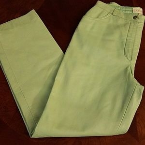 Authentic Esacada lambskin teal leather pants